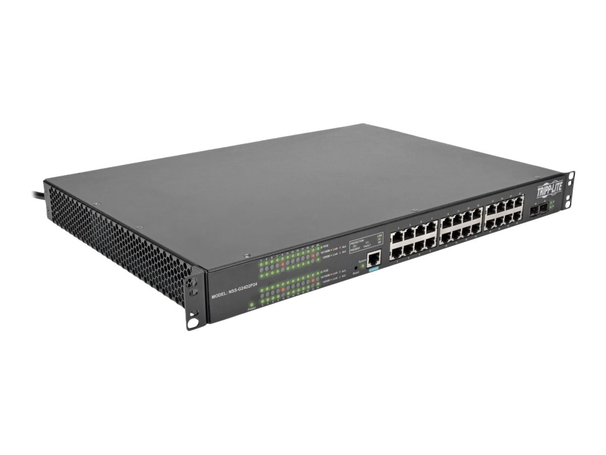 Tripp Lite 24x10 100 1000Mbps Port Gigabit L2 Managed PoE+ Switch, 2xDedicated SFP Gigabit Slots, 52Gbps