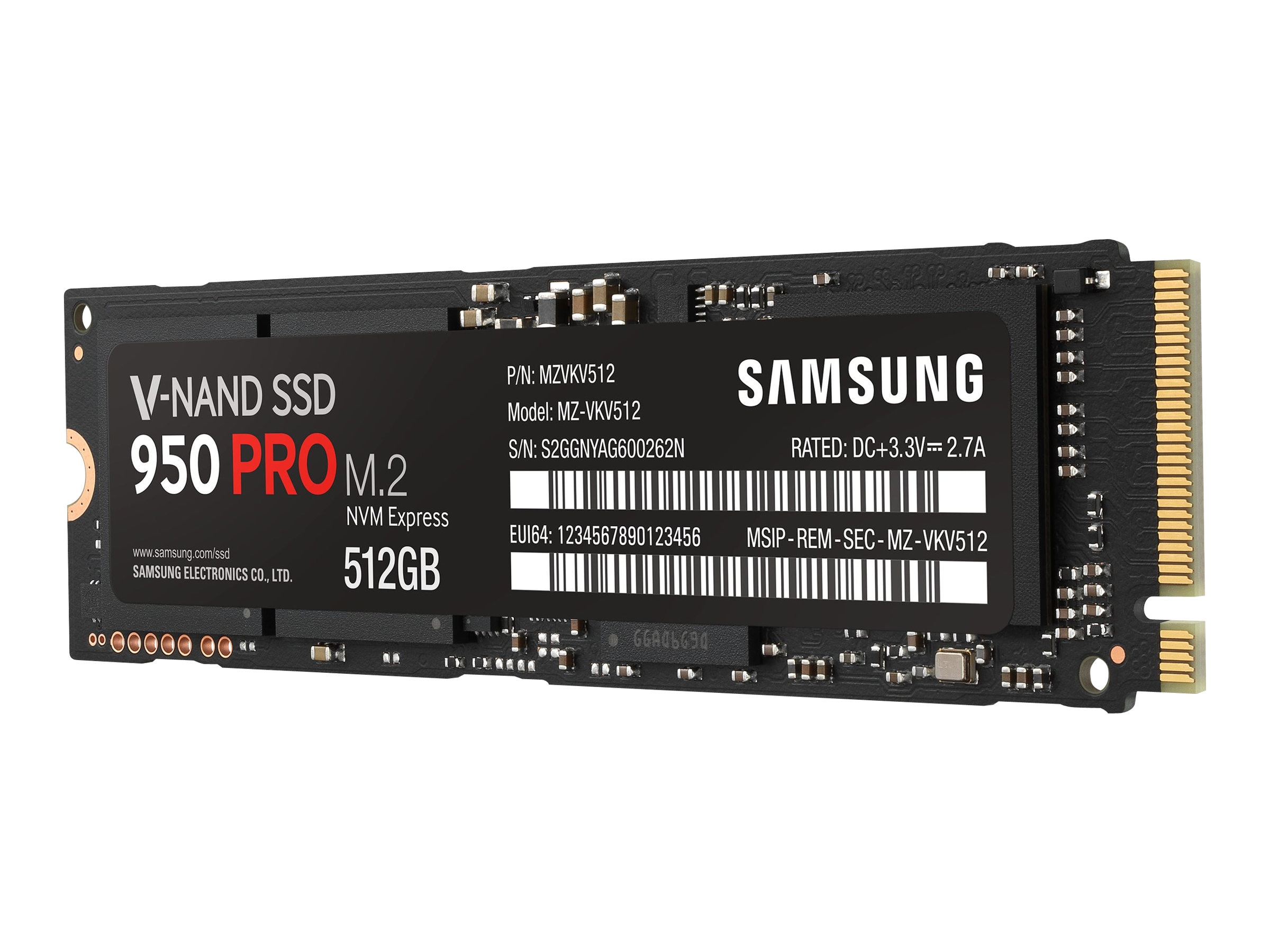 Samsung 512GB SSD 950 PRO PCIe 3.0 NVME M.2 2280 Internal Solid State Drive, MZ-V5P512BW, 30785312, Solid State Drives - Internal