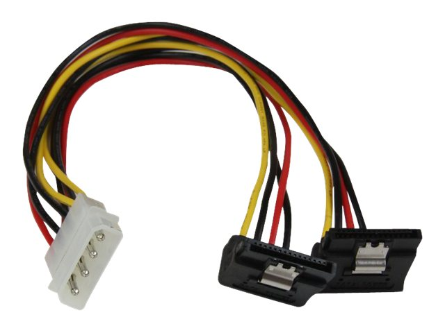 StarTech.com LP4 to 2x Right Angle Latching SATA Power Y Cable Splitter, 4 Pin Molex to Dual SATA, 12in