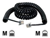 Black Box Modular Handset Cord, Coiled, Black, 6ft
