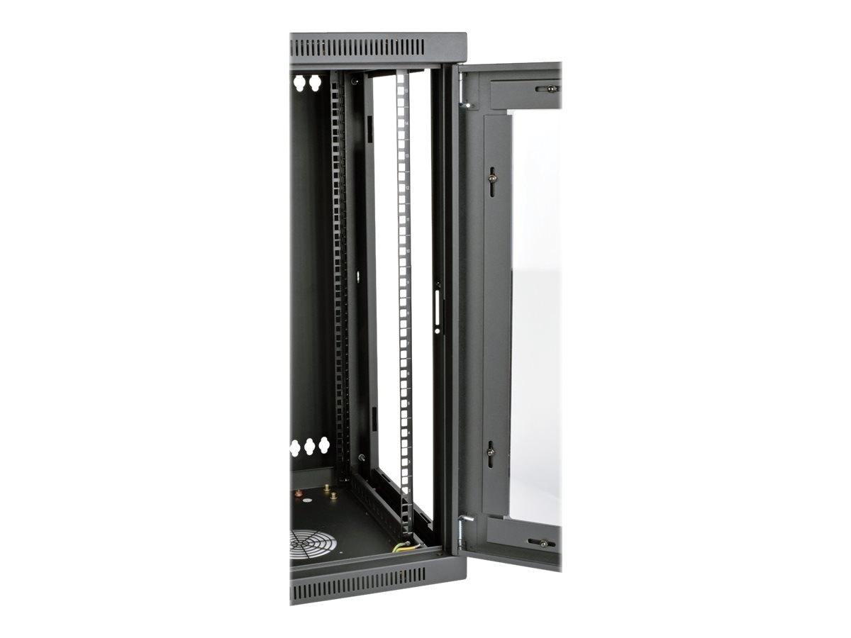 Tripp Lite SmartRack 15U Low-Profile Wall-Mount Rack Enclosure w  Clear Acrylic Window, Hinged Back, SRW15USG