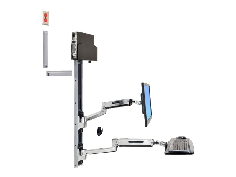 Ergotron LX Sit-Stand Wall Mount System with Small Black CPU Holder