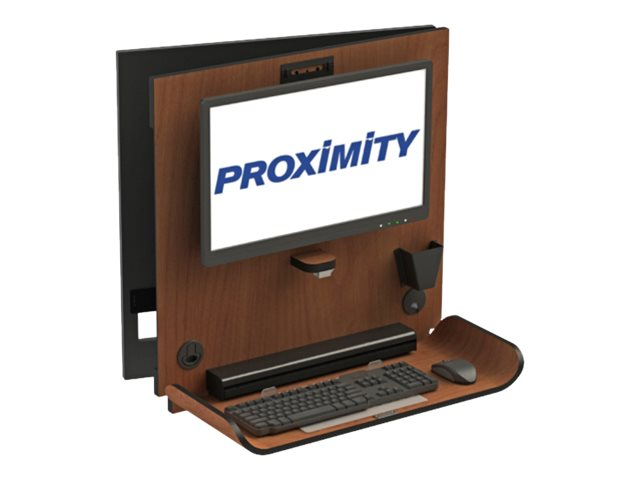 Proximity Classic CX1 Wall Mounted Computer Workstation with 90 Degree Right Swivel, Brighton Walnut