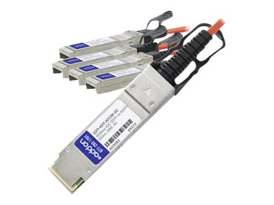 ACP-EP MSA Compliant 40GBase-AOC QSFP+ to 4xSFP+ Direct Attach Cable, 4m, QSFP-4SFP-AOC4M-AO