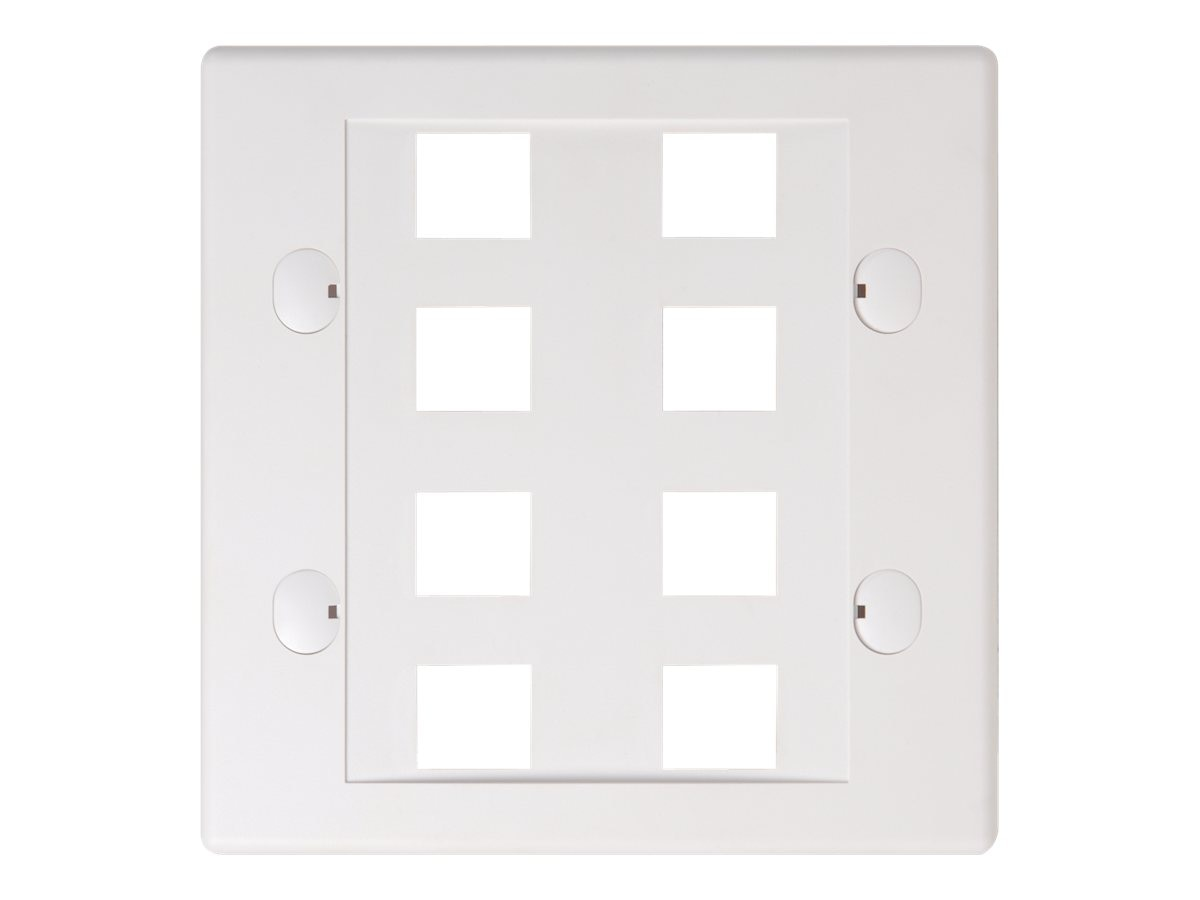 Belkin 8-Port Double-Gang Faceplate, White, F4E469-8-WHT, 7630371, Premise Wiring Equipment