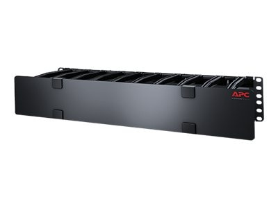 APC Horizontal Cable Manager, 2U x 6d w  Cable Tie-off Bottom Plate, Single-Sided w  Cover, AR8603A