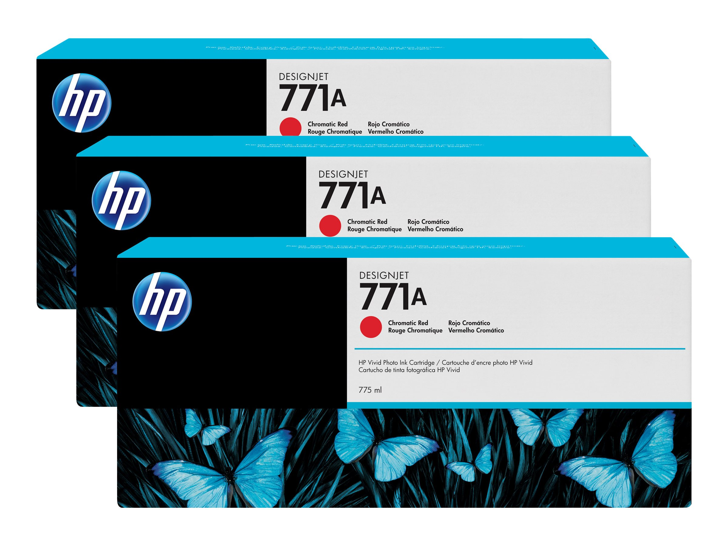 HP 771A 775-ml Chromatic Red Designjet Ink Cartridges (3-pack), B6Y40A