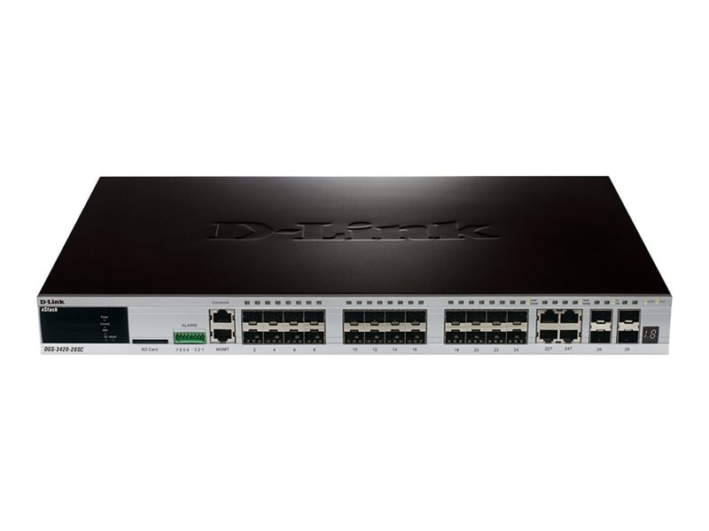 D-Link 28-port 10 100 1000 Switch, DGS-3420-28SC, 13394483, Network Switches