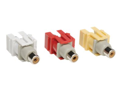 Tripp Lite 3-Piece Composite F F Audio Video Keystone Snap-in Kit, Red, White, Yellow, A020-000-KJ, 14510204, Premise Wiring Equipment