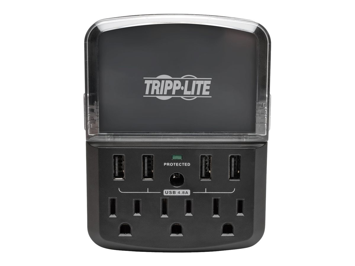 Tripp Lite Protect It! Personal Charging Station, Surge Protector, 540 Joules, (4) USB Ports, (3) AC Outlets