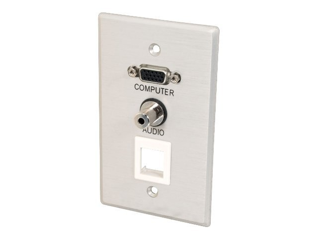 C2G Wall Plate, Single Gang, HD15, 3.5mm Audio, (1) Keystone, Brushed Aluminum, 40572, 13256751, Premise Wiring Equipment