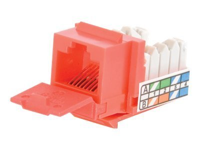 C2G Cat5e 90-Degree Keystone Jack, Red, 35204, 9784690, Premise Wiring Equipment