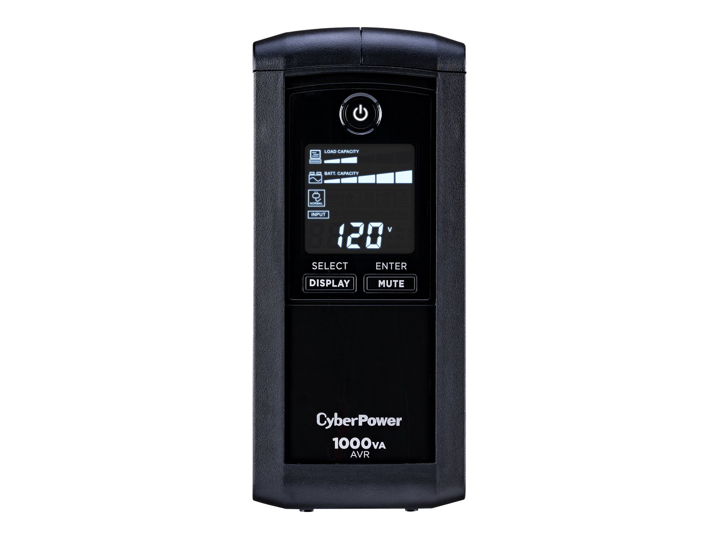 CyberPower 1000VA 600W AVR (9) Outlet RJ-11 RJ-45 Coax Tower LCD Display, CP1000AVRLCD