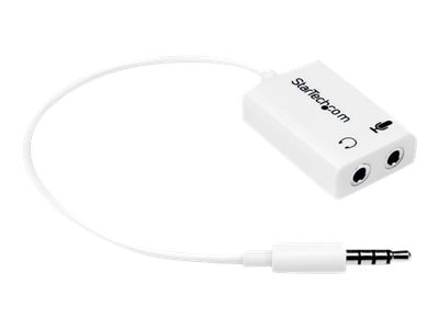 StarTech.com 3.5mm 4 Position to 2x 3 Position 3.5mm Headset Splitter Adapter M F - White, MUYHSMFFADW