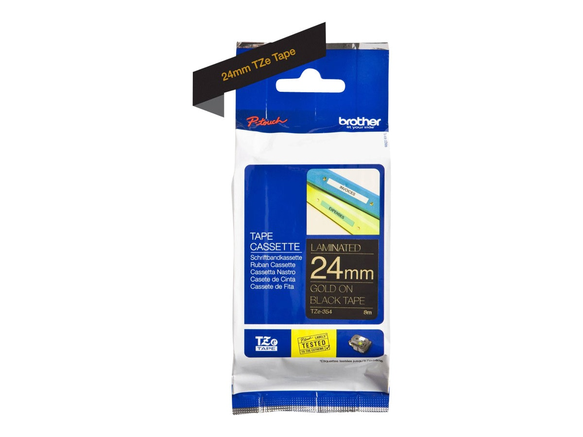 Brother 0.94 x 26.2' TZe354 Gold on Black Tape for P-Touch 8m