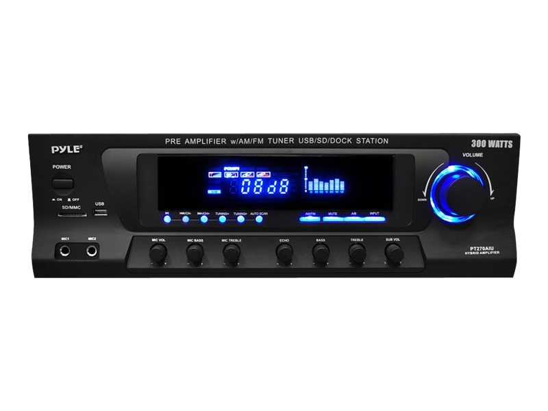 Pyle 300 Watt Stereo Receiver with Built-In iPod Docking Station, AM-FM Tuner, USB Flash & SD Card Reader, PT270AIU, 16549444, Stereo Components
