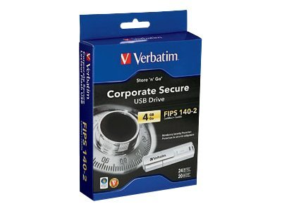 Verbatim 4GB Store Go Corporatre Secure USB Flash Drive, 96713, 8896008, Flash Drives