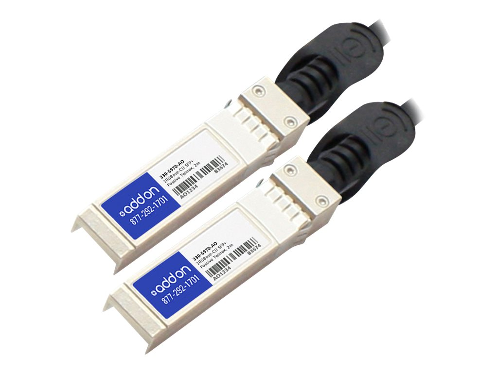 ACP-EP 10GBase-CU SFP+ to SFP+ Direct Attach Passive Twinax Cable for Dell, 2m, 330-5970-AO