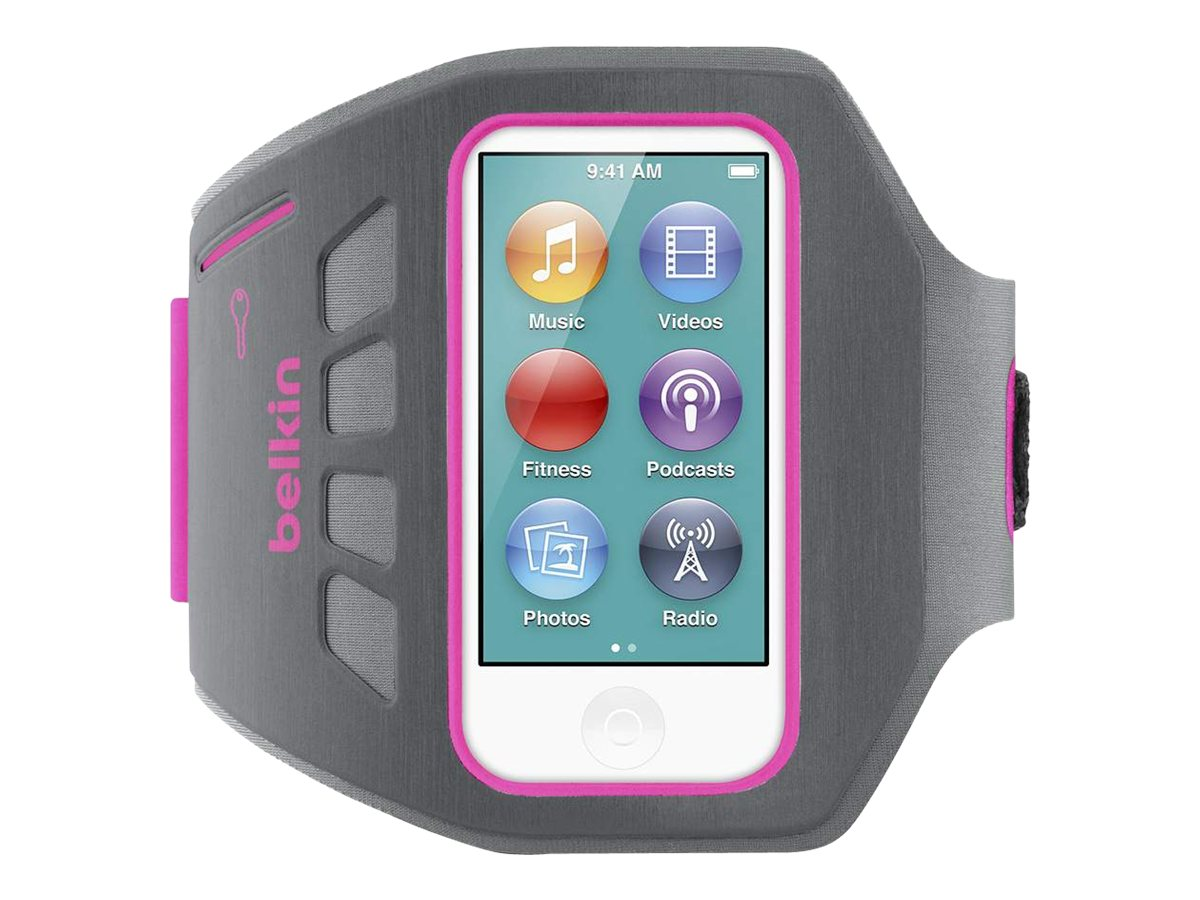 Belkin Ease-Fit Plus Armband for 7th-Generation Apple iPod nano, Gray Pink