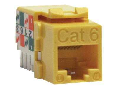 Tripp Lite Cat6 Cat5e 110 Style Punch Down Keystone Jack, Yellow, N238-001-YW