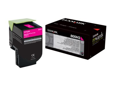 Lexmark 800H3 Magenta High Yield Toner Cartridge, 80C0H30