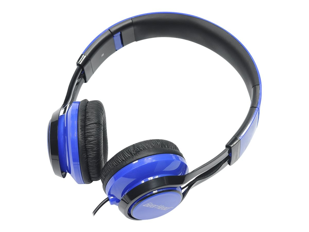 Gear Head Noise Isolating Studio Headphones w  Mic - Black w  Blue Accent