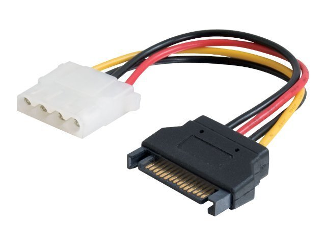 C2G 15-pin Serial ATA Male to LP4 Female Power Cable, 6in, 10149, 11230338, Cables