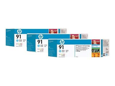 HP 91 Light Cyan Ink Cartridges -775-ml (3-pack), C9486A, 7624887, Ink Cartridges & Ink Refill Kits
