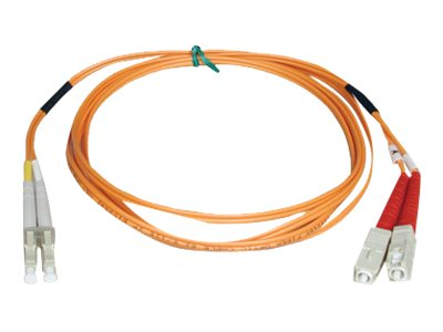 Tripp Lite Fiber Optic Cable, LC-SC, 50 125, Duplex Multimode, Orange, 3m, N516-03M, 454647, Cables