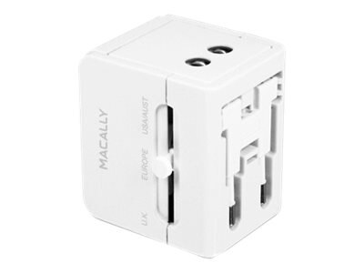 Macally Universal Power Plug Adapter with USB Charger, LP-PTCII