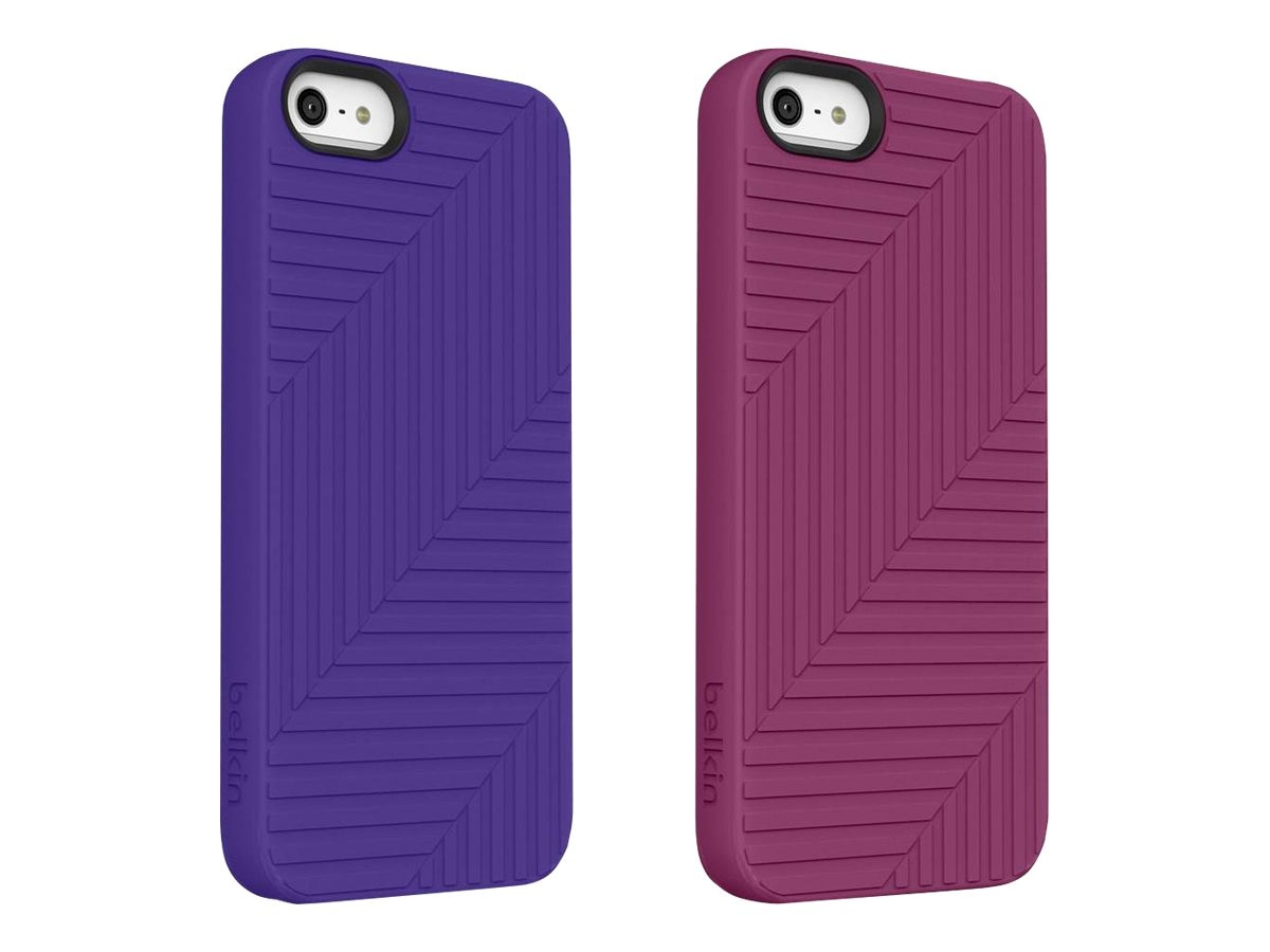Belkin Flex Case, Violet for iPhone 5 (2-pack), F8W130TTC01-2, 14860790, Carrying Cases - Phones/PDAs