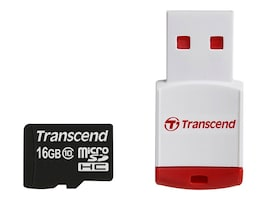 Transcend 16GB MicroSDHC Flash Memory Card, Class 10 with + P3 Card Reader, TS16GUSDHC10-P3, 16085379, PC Card/Flash Memory Readers