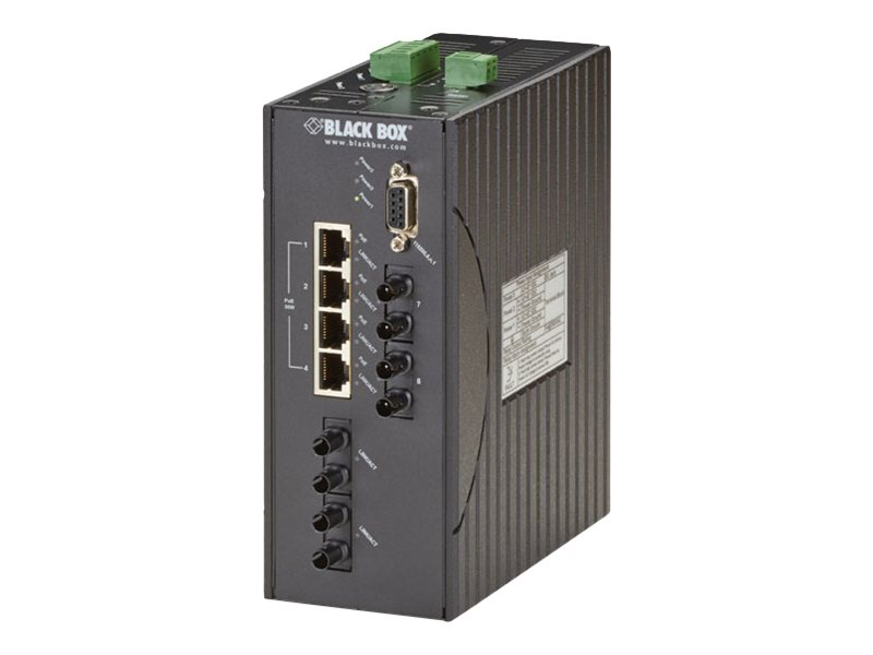 Black Box 4-Port FE PoE+ Hardened Managed Ethernet Switch w 4xFE MM ST, DIN-Rail, DC