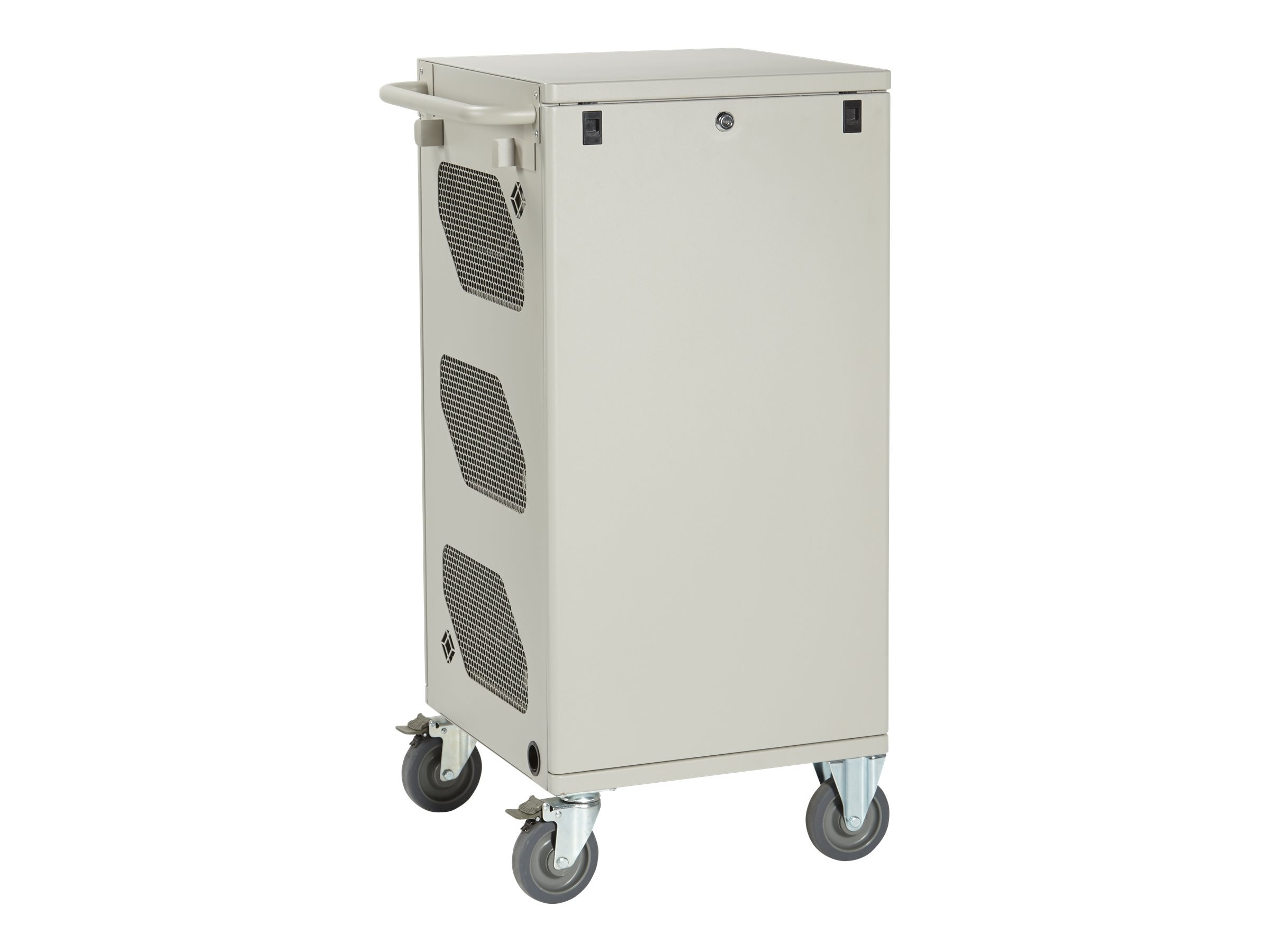 Black Box 36-Unit Standard Cart - Standard Charging, Hinged Door, Keylock, Front Cable Management, LCC36H-ACTP