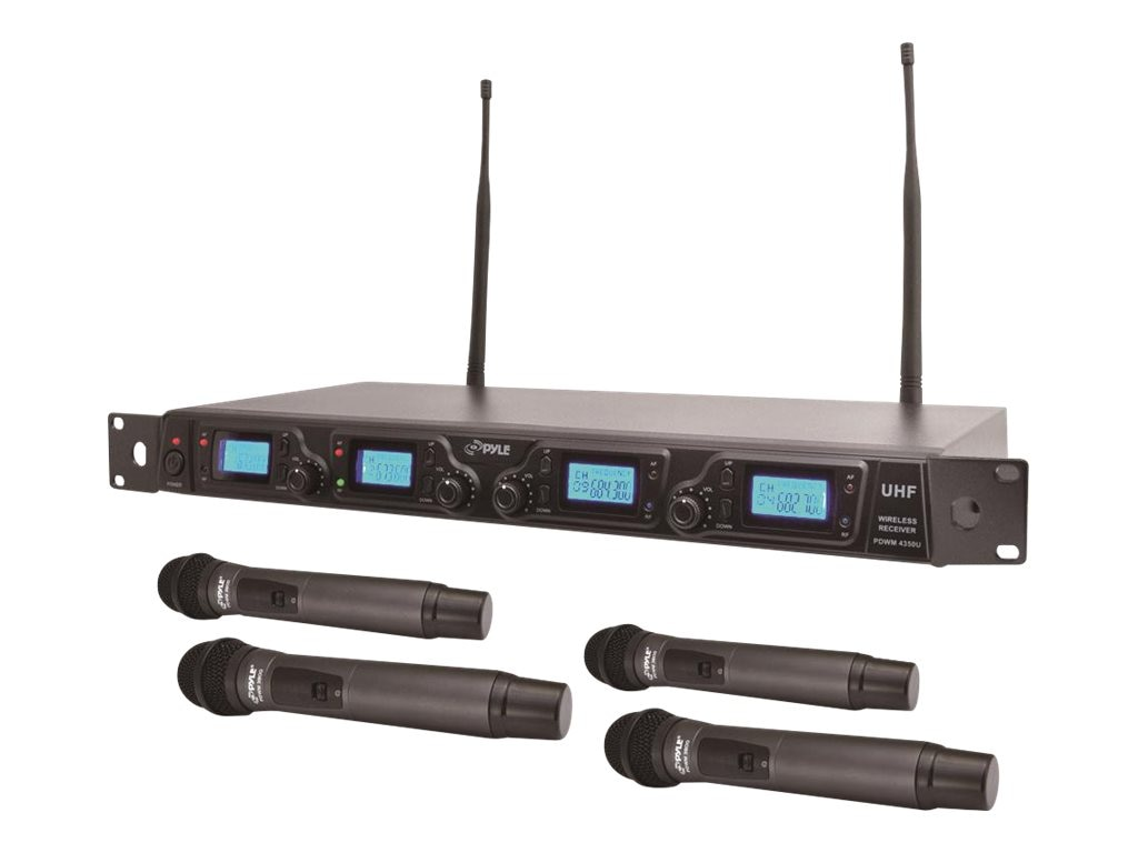 Pyle Wireless Mic System UHF 4-Channel, PDWM4360U