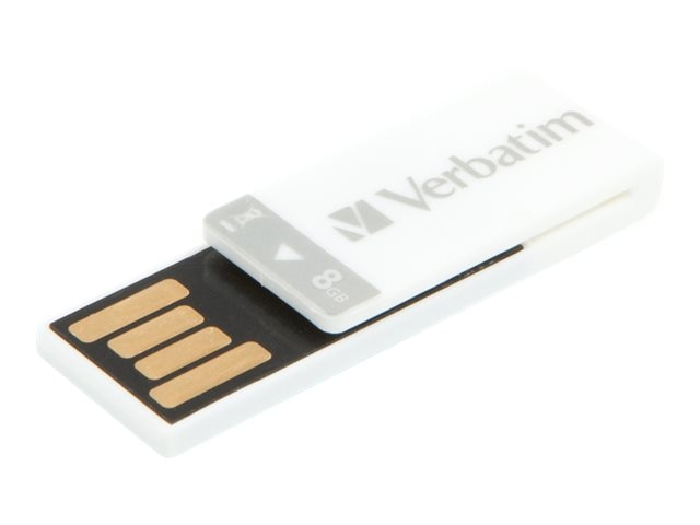 Verbatim 8GB Clip-it USB Flash Drive, White, 43933