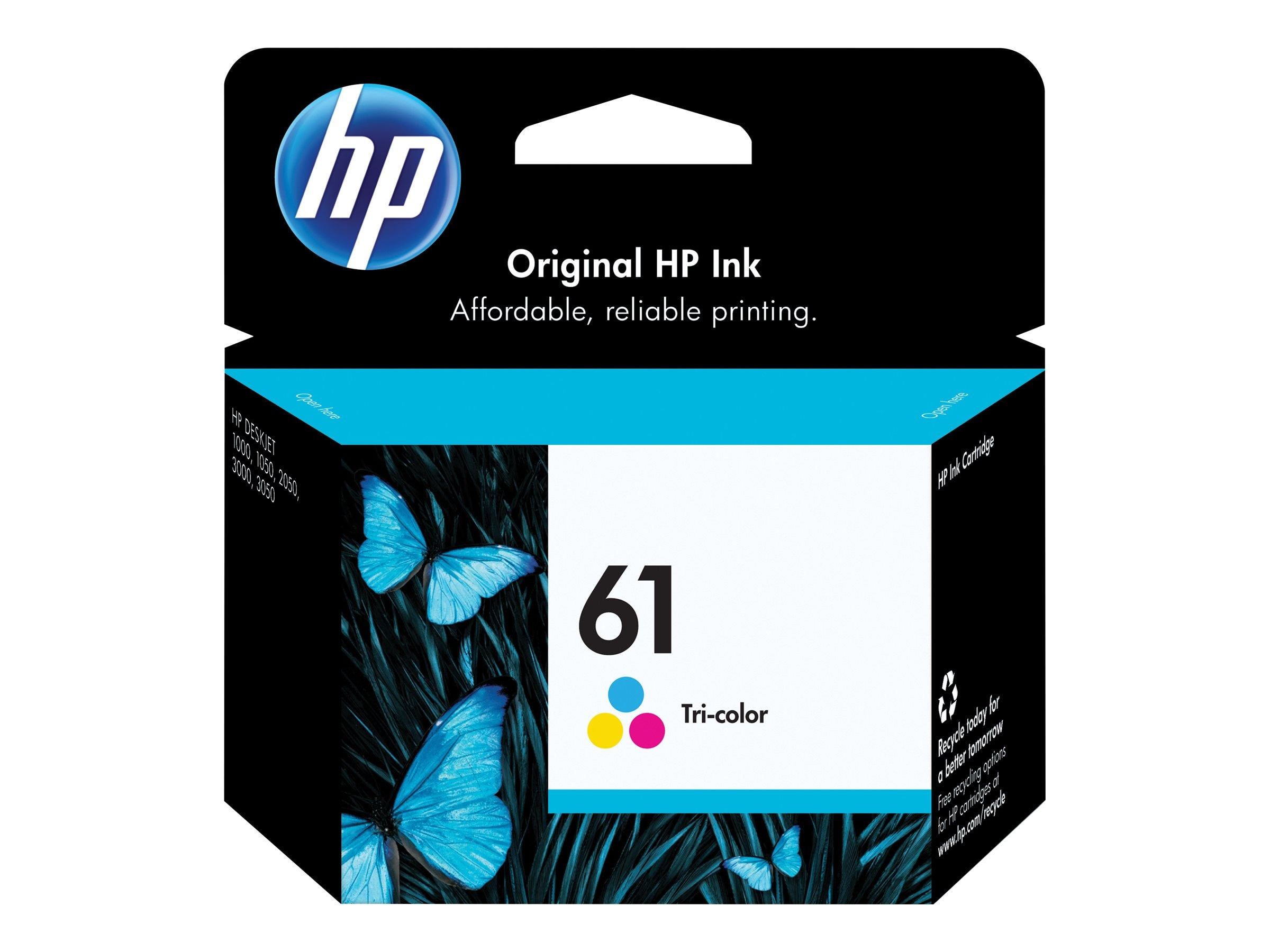 HP 61 (CH562WN) Tri-color Original Ink Cartridge, CH562WN#140