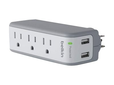 Belkin 3-Outlet Mini Surge Protector 918J with 2.1A USB Charging Ports, BST300BG
