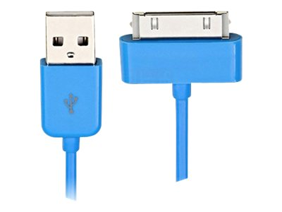 4Xem 30-pin to USB 2.0 Type A Flat Cable for iPhone iPod iPad, Blue, 3ft, 4X30PINBLCBL
