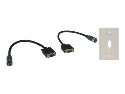 Tripp Lite Easy Pull Type-A Connectors, M F set of VGA with Faceplate, EZA-VGAX-2, 8442639, Cables