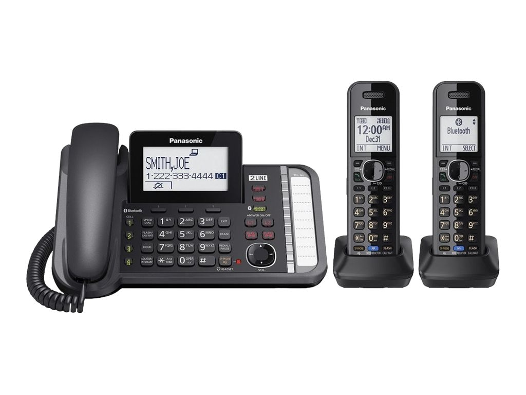Panasonic Link2Cell DECT_6.0 2-Handset 2-Line Phone, KX-TG9582B