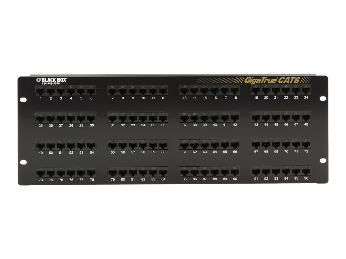 Black Box GigaTrue Cat6 Patch Panel, 96-Port, JPM614A-R7, 14402529, Patch Panels