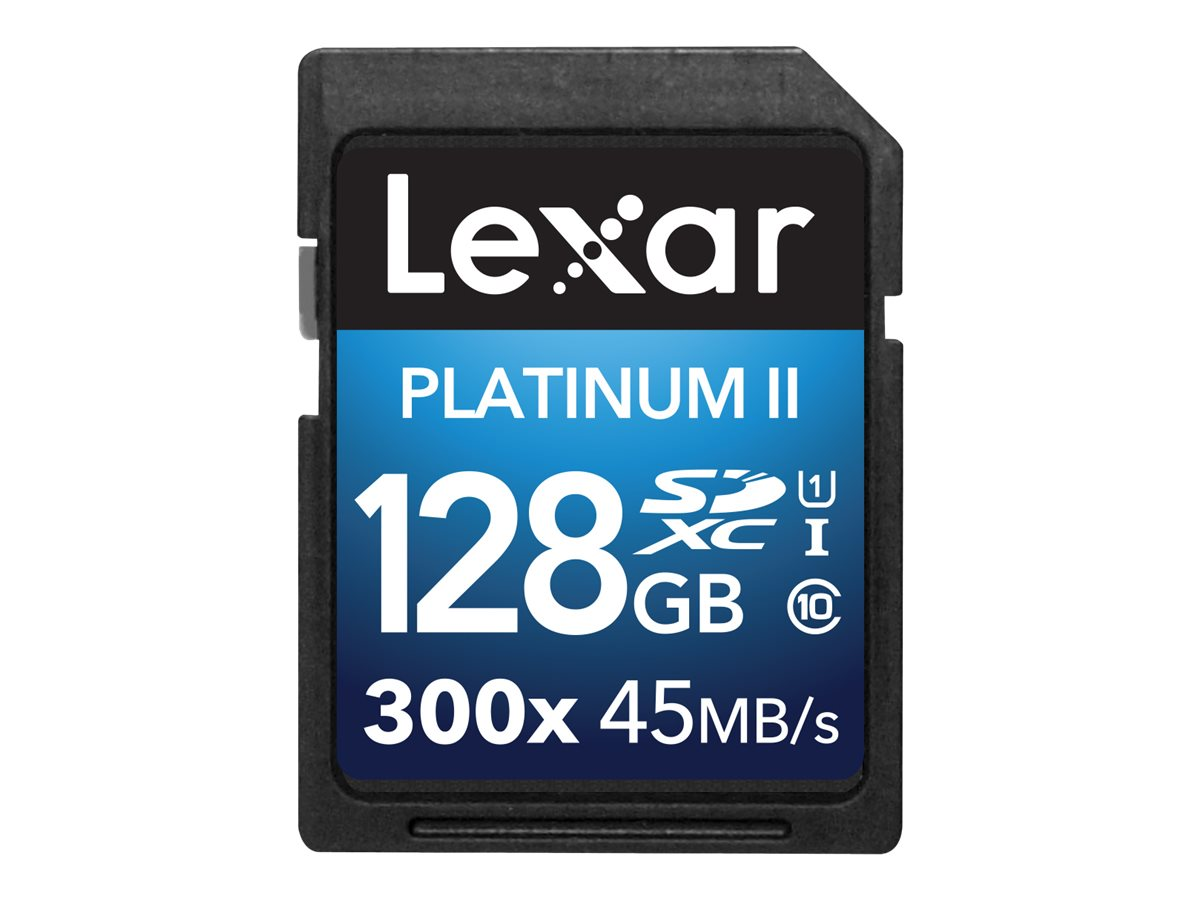 Lexar 128GB Platinum II UHS-I 300x SDXC Flash Memory Card, Class 10, LSD128BBNL300, 30357633, Memory - Flash