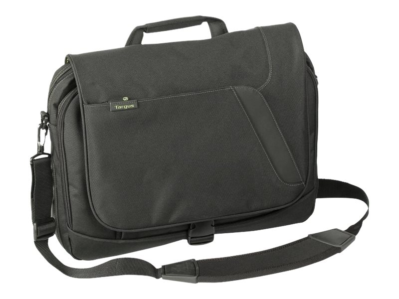 Targus Spruce EcoSmart 15.6 Messenger, Black Green, TBM015US, 9568145, Carrying Cases - Notebook