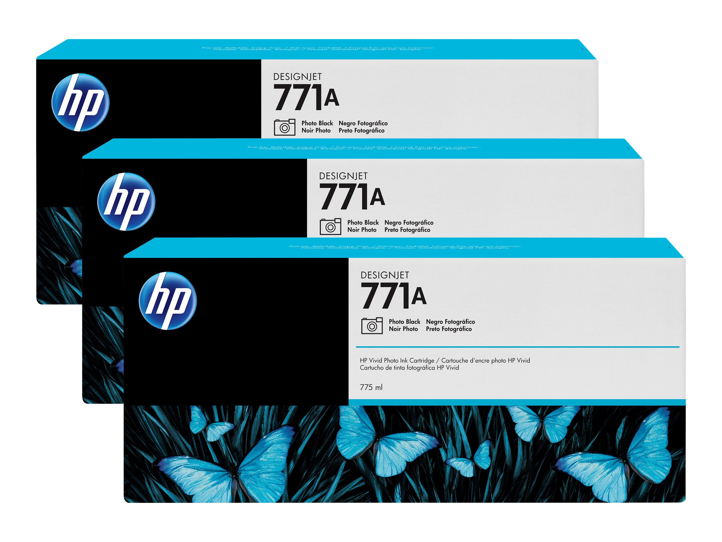 HP 771A 775-ml Photo Black Designjet Ink Cartridges (3-pack)