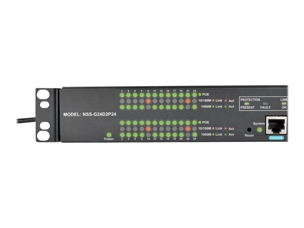 Tripp Lite 24x10 100 1000Mbps Port Gigabit L2 Managed PoE+ Switch, 2xDedicated SFP Gigabit Slots, 52Gbps, NSS-G24D2P24