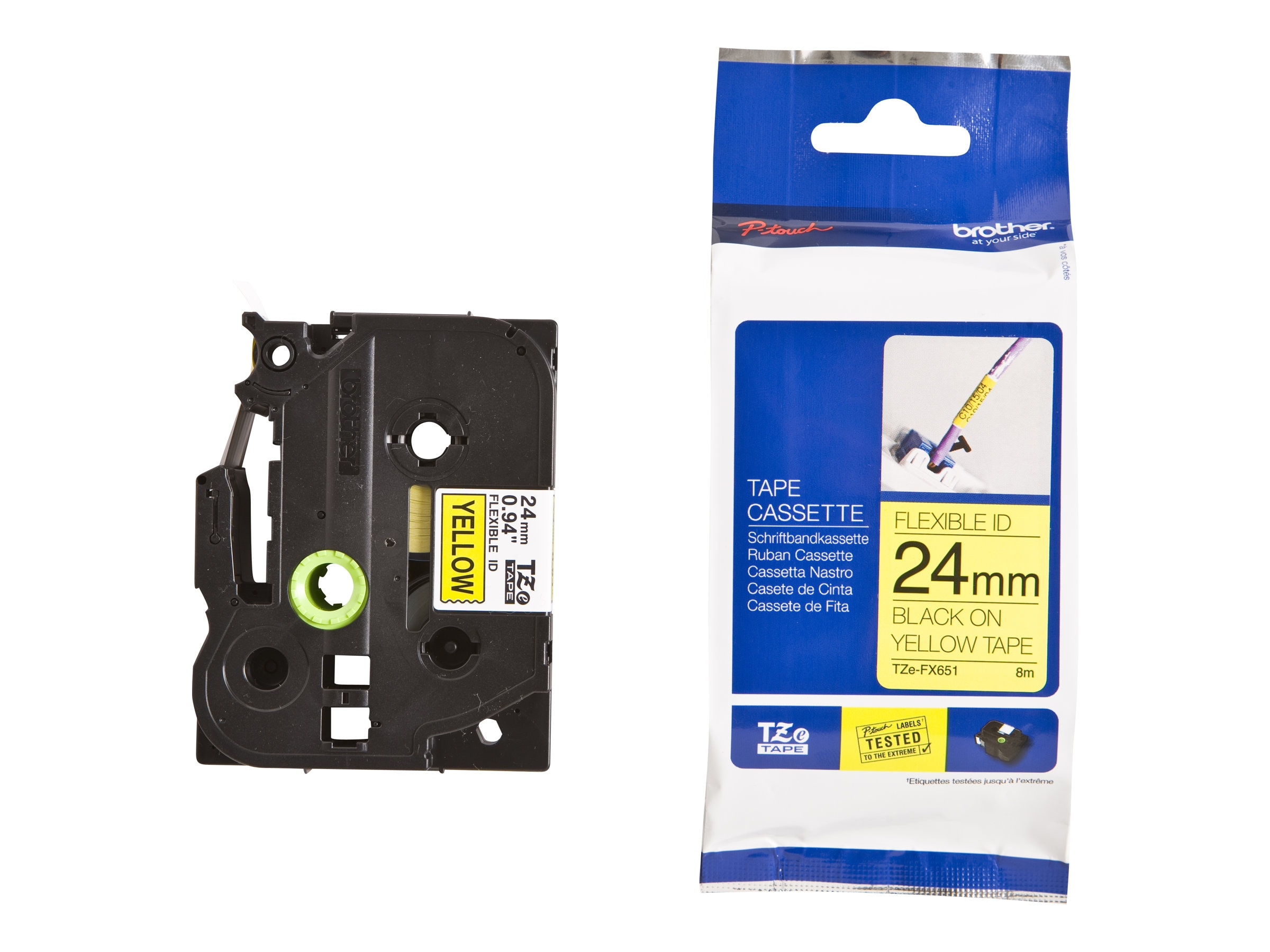Brother 0.94 x 26.2' TZeFX651 Black on Yellow Flexible ID Tape, TZE-FX651, 13058316, Paper, Labels & Other Print Media