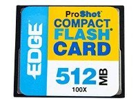 Edge 512MB ProShot 100X CompactFlash Card, PE204365, 6326239, Memory - Flash