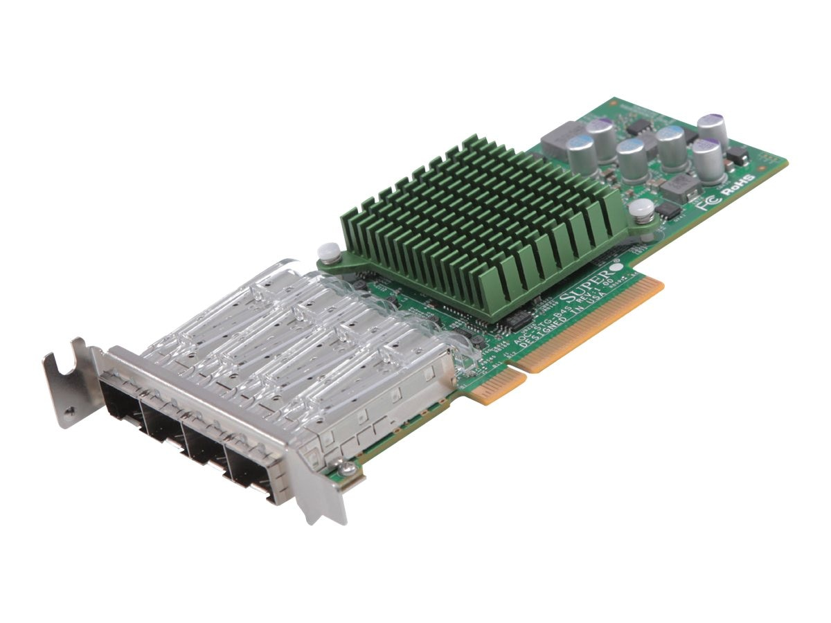 Supermicro AOC-STG-b4S 10-Gigabit Networking Adapter PCIe 4-Port SFP+ Copper Low-Profile, AOC-STG-B4S