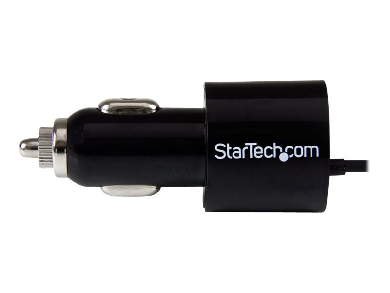 StarTech.com Dual-port car charger with Lightning cable and USB 2.0 port, Black, USBLT2PCARB